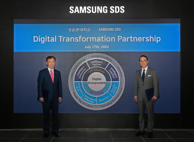 왼쪽부터 삼성SDS 홍원표 대표와 성균관대학교 신동렬 총장이 삼성SDS 잠실캠퍼스에서 디지털트랜스포메이션 추진을 위한 산학협약을 체결하고 있다