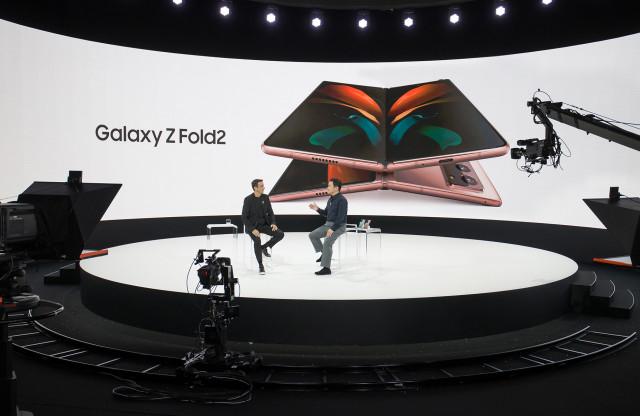 갤럭시 언팩 2020에서 삼성전자 무선사업부장 노태문 사장이 갤럭시 노트20 울트라를 소개하고 있다