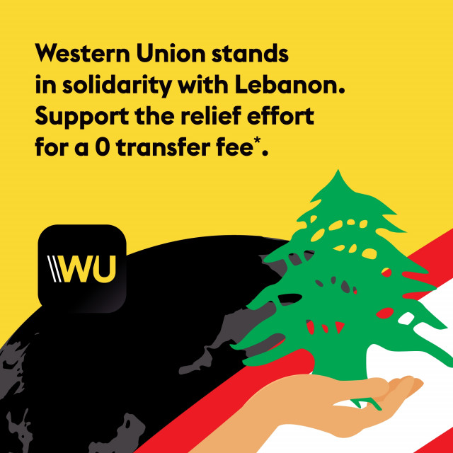 Western Union Stands in Solidarity with Lebanon; Money Transfers to Lebanon Zero-Fee Paid out in US Dollars
