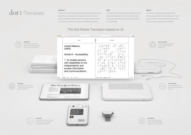 공익광고 부문 '올해의 그랑프리' AI 기반 최초의 점자 번역기, 닷 트랜스레이트(Dot Translate. The First Braille Translator Based on AI.)