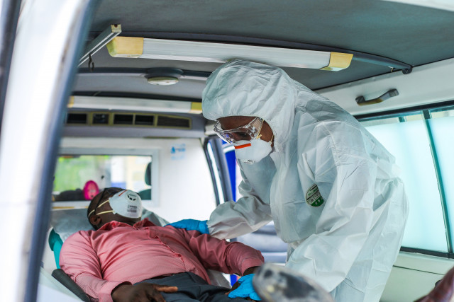 Nigeria-Lagos COVID ambulance transfer inside vehicle