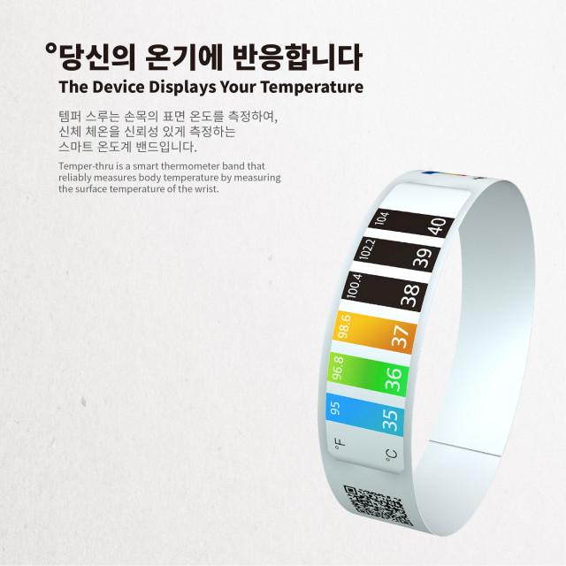 자가 온도 체크가 가능한 스마트 온도계 밴드 템퍼스루(Temper-thru)