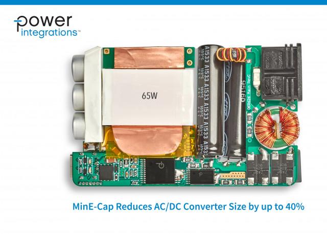 새로운 MinE-CAP 디바이스로 입력 벌크 커패시터 크기 대폭 감소, 돌입 전류 최대 95%까지 감소, NTC 서미스터 및 관련 손실이 제거된다