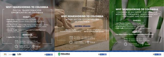 웨비나: Why Nearshoring to Colombia 화학, 석유화학, 생명 과학/4차 산업/삼림 & 목재 가공 관련 비즈니스 안내 포스터