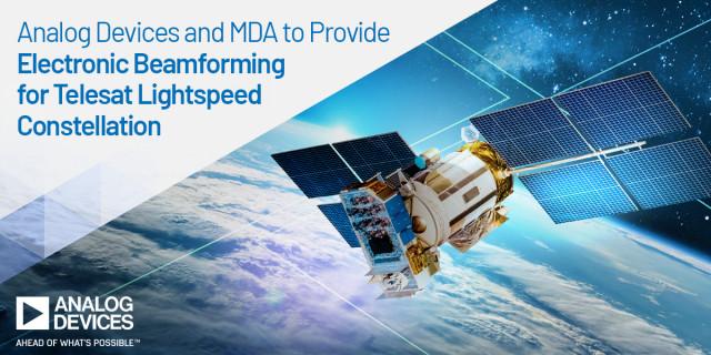 아나로그디바이스가 MDA의 정교한 위상 배열 안테나에 사용되는 빔 포밍 IC 제공을 위해 MDA와 협력한다