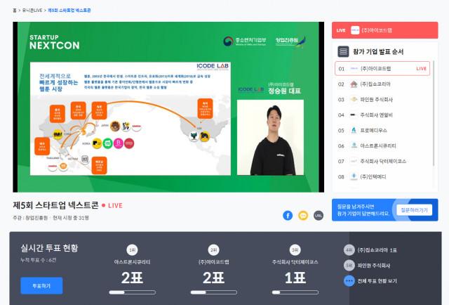 제5회 스타트업 넥스트콘 온라인 행사 화면
