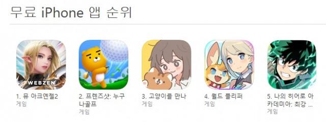 앱스토어 인기 순위 1위를 달성한 웹젠 '뮤 아크엔젤2'