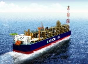 현대중공업 독자 개발해 최근 노르웨이 선급협회(DNV)로부터 기본 승인을 획득한 '현대 FLNG'의 조감도. (사진제공: 현대중공업)