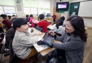 삼성전자가 디지털 교육기업 시공미디어와 함께 서울 구룡초등학교에 '슬레이트PC 시리즈7'을 활용한 스마트 교실을 시범 운영한다. 사진은 시범 교실로 선정된 구룡초등학교의 한 교실에서 교사가 슬레이트PC를 이용해 수업을 진행하는 모습. (사진제공: 삼성전자)