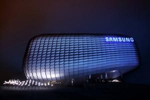 삼성이 여수에서 개최되는 '2012여수세계박람회'의 독립기업관에 「창조적 공존, 함께 그리는 미래(Living Creatively, Imagining Together)」를 주제로 배 형태의 독특한 디자인에 지상 3층, 연면적 2,659.3㎡규모의 삼성관(Samsung Pavilion)을 마련했다. (사진제공: 삼성전자)