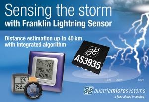 오스트리아마이크로시스템즈(지사장: 이종덕)가 임베디드 지능형 알고리즘을 지닌 세계 최초의 낙뢰 센서 IC인 AS3935 프랭클린 라이트닝 센서(Franklin Lightning Sensor)를 발표했다. (사진제공: ams)