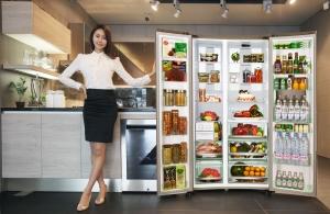 지난 3월 국내에 출시한 지펠 그랑데스타일 8600 냉장고(양문형)를 소개하는 모델컷 (사진제공: 삼성전자)