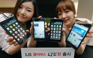 LG전자가 이번 주부터 전략 LTE 스마트폰 '옵티머스 LTE Ⅱ'를 통신 3사를 통해 출시한다. '옵티머스 LTE Ⅱ'는 기존 LTE 스마트폰 사용자들이 아쉬움을 갖고 있었던 시스템 안정성, 배터리 사용시간을 대폭 개선해 최적의 LTE 사용환경을 제공한다. 출고가는 93만 5천원. (사진제공: LG전자)
