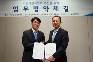 (좌로부터) 인천테크노파크 이윤 원장, KDB산업은행 심사평가본부 김상로 부행장 (사진제공: 한국산업은행)