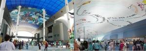 2012 여수엑스포 디지털 갤러리에 전시된 '매직타일'(좌)과 'EDG 트위터'(우) 이미지 (사진제공: 한국콘텐츠진흥원)