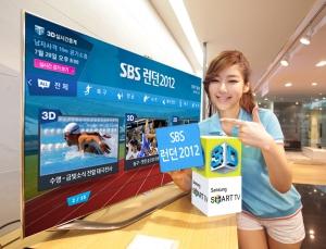 삼성전자 모델이 SBS가 삼성 3D 스마트TV에 제공하는 SBS 런던 2012 앱을 소개하고 있다. (사진제공: 삼성전자)
