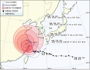제11호 태풍 '하이쿠이(HAIKUI)' 예상 진로도 (08.07.10:00 발표) (사진제공: 기상청)