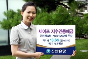 신한은행(www.shinhan.com 은행장 서진원)은 신한은행의 지수연동예금 (ELD) 대표 브랜드인 '세이프지수연동예금'을 8월 13일(월)부터 8월 22일(수)까지 판매한다. (사진제공: 신한은행)