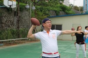 플래그풋볼 기초 기술훈련에 들어간 지도자들의 모습이다. (사진제공: 한국유소년플래그풋볼협회)