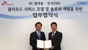 원성식 SK텔레콤 솔루션사업본부장과 정교중 한국EMC 부사장이 협약서를 교환하고 있다. (사진제공: 한국EMC)