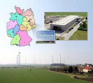 독일 펠트하임(Feldheim) 마을 전경 및 LG화학 배터리가 탑재될 ESS가 구축되고 있는 현장(사진 우측 상단) 모습
