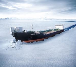 삼성중공업이 2007년 건조한 세계 최초의 양방향 쇄빙유조선 바실리 딘코프 호 (사진제공: 삼성중공업)