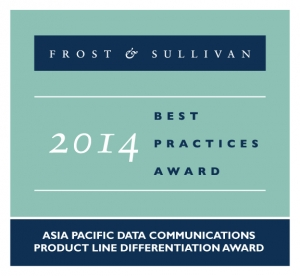 팩넷이 세계적 권위를 자랑하는 프로스트 앤 설리번(Frost & Sullivan)의 '2014 아시아 태평양 지역 데이터 통신 제품 차별화상'을 수상했다. (사진제공: 팩넷)