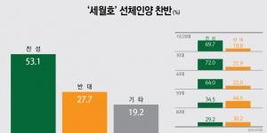 세월호 선체인양 찬성(53.1%) vs 반대(27.7%), 찬성이 25.4%p 더 높아
