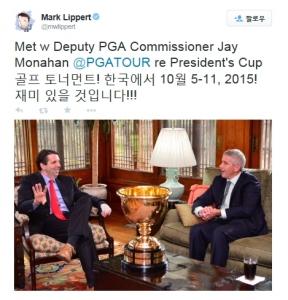 마크 리퍼트 대사가 제이 모나한 PGA투어 부 커미셔너와 만나 올해 10월 인천 송도에서 개최되는 2015 프레지던츠컵을 응원하며 담소를 나누고 있다