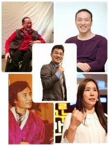1인1책 장애인 작가들과 김준호 대표(가운데)