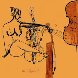 이미 음악 속엔 그림이 있죠. 그림 속엔 음악이 있고요. 현재 저의 작업의 주제가  음악입니다라고 말하는 서양화가 모지선 작가의 작품 첼로를 사랑하는여인 (사진제공: K-클래식조직위원회)