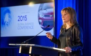 GM 메리 바라 CEO가 주주 대상 GM의 미래 기술 정책에 대해 설명하고 있는 장면 (사진제공: 한국지엠)
