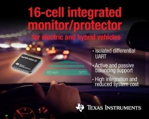 TI가 업계 최초로 한 번에 16개의 배터리 셀을 측정할 수 있는 배터리 모니터 및 보호 회로가 통합된 IC를 출시한다 (사진제공: TI코리아)
