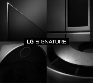 LG전자의 초프리미엄 가전 시장 공략을 위한 통합 브랜드인 LG 시그니처 제품 이미지, 브랜드 로고 이미지 (사진제공: LG전자)