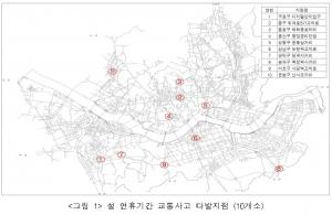 설 연휴기간 교통사고 다발지점 (10개소) (사진제공: 도로교통공단 서울지부)