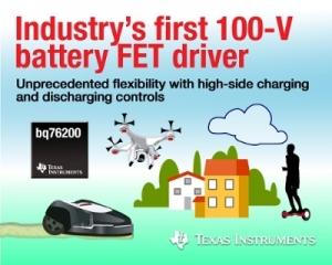 TI가 고전력 리튬 이온 배터리 애플리케이션을 위해 업계 최초의 단일 칩 100V 하이사이드 FET 드라이버를 출시한다 (사진제공: TI코리아)