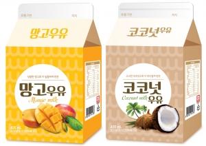 GS25가 출시한 색다른 가공우유인 망고우유, 코코넛 우유 2종 (사진제공: GS리테일)