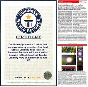 건국대학교는 물리학부 김학성 박사 등 공동 연구팀이 처음으로 밝혀낸 꿈의 소재 그래핀의 발광 특성에 관한 연구성과가 최근 세계에서 가장 얇은 광원 기록으로 기네스북에 공식 등재됐다 (사진제공: 건국대학교)
