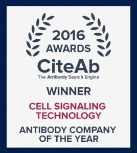 시그널링 테크놀로지가 '2016 CiteAb 어워드'(CiteAb Award)에서 '올해의 항체 기업상'과 함께 2년 연속 '연구자가 선택한 기업상'을 수상했다. (사진제공: Cell Signaling Technology, Inc.)