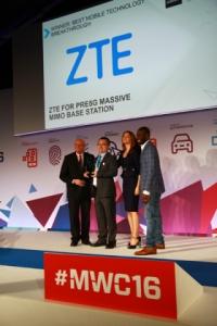 ZTE, 2016 MWC에서 Pre5G 매시브 미모 기술로 글로벌 모바일상 수상 (사진제공: ZTE Corporation)