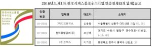 제1차 SQ인증기업 공고 (사진제공: 한국서비스진흥협회)