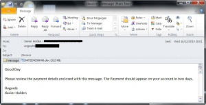 금융 관련 이메일로 위장한 드라이덱스 스팸 메일 샘플 (사진제공: 시만텍코리아)