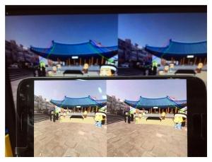 제주 역사 건축물인 관덕정 설화를 360VR과 애니메이션으로 소개하는 VR영상 화면