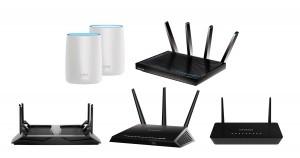 넷기어 무선 와이파이 공유기 제품군–오르비(RBK50), R8500, R8000, R7000, R6220(위부터 좌우 순서대로)