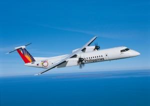 필리핀항공 도장을 입힌 Q400 항공기