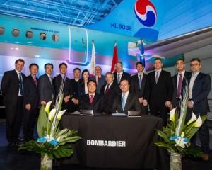 C시리즈 제조 시설이 위치한 퀘벡주 미라벨에서 거행된 인도식에 대한항공과 봄바디어 임원진이 참석했다