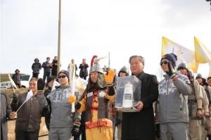 2018 평창 동계올림픽 성화가 5일 충남 부여에서 봉송을 실시했다