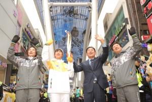 2018 평창 동계올림픽 성화가 9일 대전에 도착, 봉송 여정을 시작했다