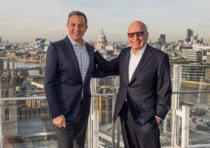 Left to right: Robert A. Iger, Chairman and CEO of The Walt Disney Company, and Rupert Murdoch, Executive Chairman, 21st Century Fox
