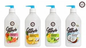 해피바스가 천연 유래 코코넛 성분을 함유해 피부에 촉촉함을 선사하는 코코펀치 샤워젤 4종을 출시했다